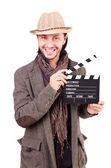 Hombre con sombrero y Claqueta Cine — Foto de Stock