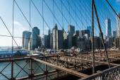 View of lower manhattan from Brooklyn bridge — Stock Photo
