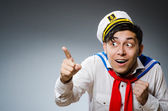 Funny captain sailor wearing hat — Stock Photo