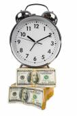 Time is money concept with clock and dollars — Стоковое фото