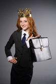 Queen businesswoman in funny concept — Stock Photo