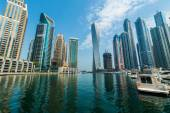 Tall Dubai Marina skyscrapers in UAE — Stock Photo