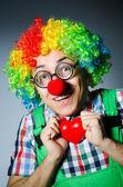 Clown with red heart in romantic concept — Foto de Stock