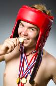 Funny boxer with winning gold medal — Stock fotografie
