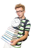 Student missing his deadlines isolated on white — Stockfoto
