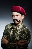 Funny soldier in military concept — Stockfoto