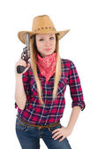 Cowgirl woman with gun isolated on white — Stock Photo