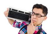 Nerd del computer con tastiera isolato su bianco — Foto Stock