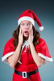 Snow santa girl in christmas concept — Stock Photo