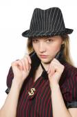 Woman dressed as gangster isolated on white — Photo