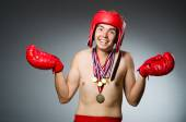 Funny boxer with winning gold medal — Stock Photo