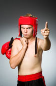 Angry boxer against grey background — Stock Photo
