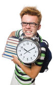 Student missing his deadlines isolated on white — Stock Photo