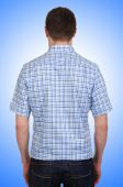 Male model with shirt isolated on white — ストック写真