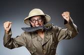 Funny safari hunter against background — Stock Photo
