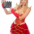 Woman in red dress with movie board — Stock Photo #57287937