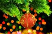 Christmas decoration on the fir tree — Stock Photo