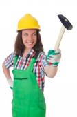 Young woman with hammer on white — Stock fotografie