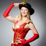Pirate vrouw met gevederde hoed — Stockfoto #57364909