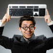 Comouter geek with computer keyboard — Foto de Stock   #57367711