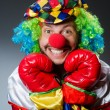 Funny clown with boxing gloves — Stock Photo #57368253