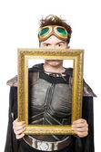 Funny pilot with picture frame isolated on white — Stock Photo