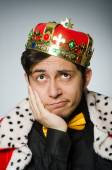 Concept with funny man wearing crown — Stock Photo