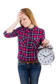 Kobieta z zegarem — Zdjęcie stockowe