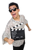 Man with movie clapperboard — Stock Photo