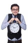 Biznesmen z zegarem — Zdjęcie stockowe