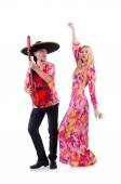 Spanish pair playing guitar and dancing — Stock Photo