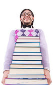Funny student with books isolated on white — Stockfoto