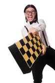Nerd chess player isolated on white — Stock Photo