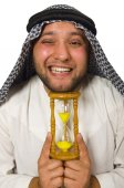 Concept with arab man isolated on white — Stock Photo