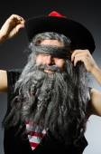 Funny pirate with long beard — Stock Photo
