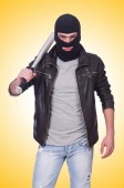 Male hooligan with bat — Stock Photo