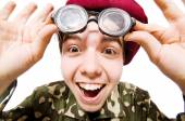 Funny soldier isolated on white — Stock fotografie