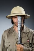 Funny safari hunter against background — 图库照片