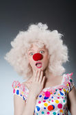 Clown with white wig — Stock Photo