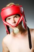 Lustige boxer mit goldmedaille — Stockfoto