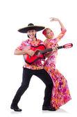 Spanish pair playing guitar and dancing — Stock Photo
