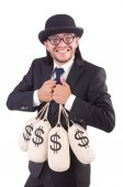 Man with sacks of money isolated on white — ストック写真