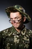 Funny soldier in military concept — 图库照片