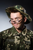 Funny soldier in military concept — ストック写真