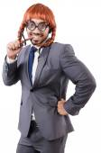Funny businessman with female wig isolated on white — Stockfoto
