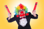 Businessman clown isolated on white — Stock Photo