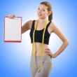 Woman with centimeter and paper binder — Stock Photo #58251273