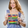 Young woman with abacus in school education concept — Stockfoto #58259595