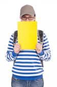 Student med böcker isolerad på vit — Stockfoto