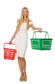 Woman in shopping concept isolated on white — Stock Photo